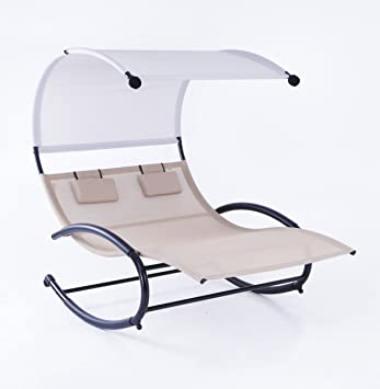 Belleze Double Chaise Rocker Patio Furniture Chair Canopy Pool Swing Rocker Hammock Beige  sc 1 st  Amazon.com : double canopy chair - memphite.com