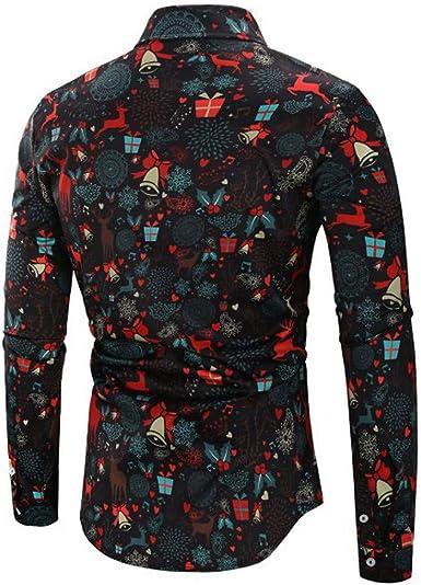 ACEBABY Camisas Hombre Manga Larga Moda Blusa navideña Fiesta muñeco de Nieve Estampado Camisa de Navidad Superior Delgada Casual Slim Fit Camiseta Polo: Amazon.es: Ropa y accesorios