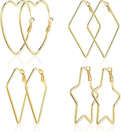 Gold Tone Square Shape Long Drop Metal Earrings NEW!