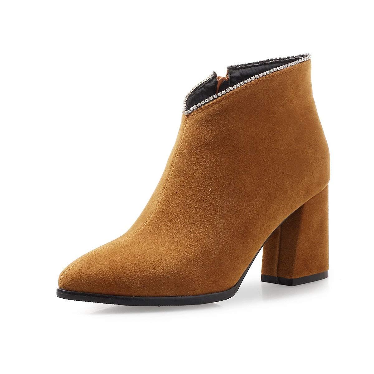 Damenstiefeletten Dicke Ferse High Heel Chelsea Stiefelies Damen Baumwolle Bequeme Dicke Ferse Mode Stiefel (Farbe   C Größe   43)