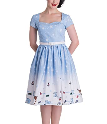 HELL BUNNY Christmas 50s Dress NOELLE Snowflake Blue All Sizes ...