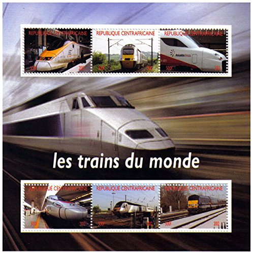 Trains mint stamp sheet for collectors and train lovers featuring different train types – Central African Republic / 2012 / 6 stamps (Stamps Train Mint)