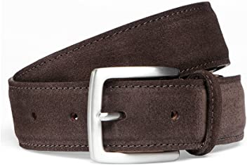 d22b0230a31da Cheaney Brown Suede Belt with Silver Buckle
