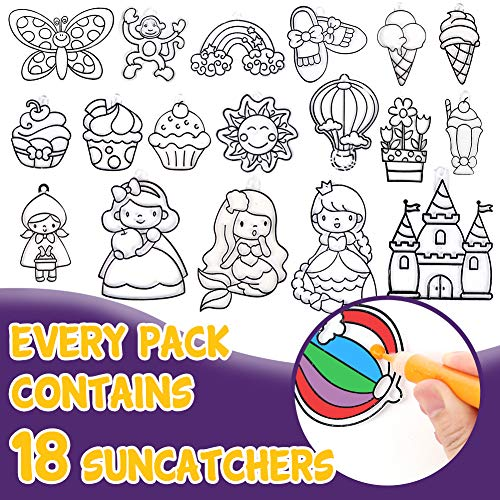 3 otters Window Paint Art Stickers Kit, 58PCS Window Art Kits for Kids Children's Create Your Own Suncatchers Paint Set, DIY Sticker Windows Clings