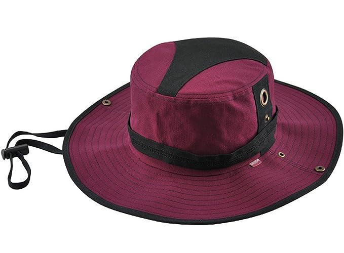 KeepSa Sombrero de verano para hombre, visera de algodón, sombrero de pescador, escalada al aire libre, rojo vino: Amazon.es: Deportes y aire libre
