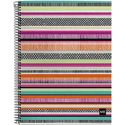 """Miquelrius Spiral Hardcover Notebook, 4 Subject, 140 sheets/280 Lined pages, 8.5"""" x 11"""", Sunset"""