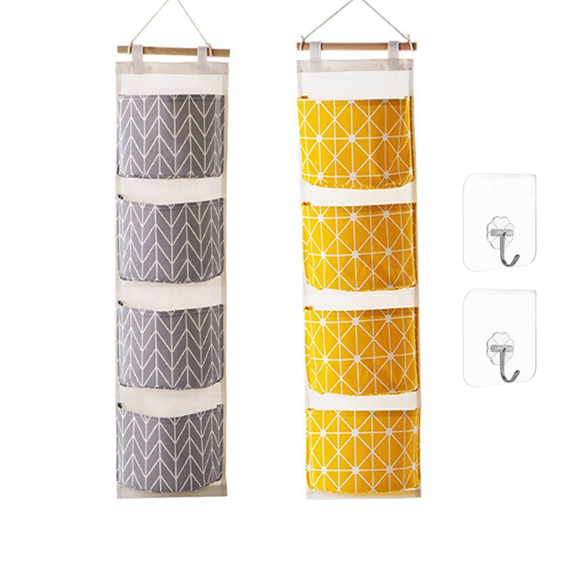 Ricye Wall Door Closet Hanging Storage Bag Cotton Fabric 4 Pockets Over The Door Organizer Pouch, 2 Pcs Adhesive Wall Hooks, 2 Pack (Gray+Yellow)