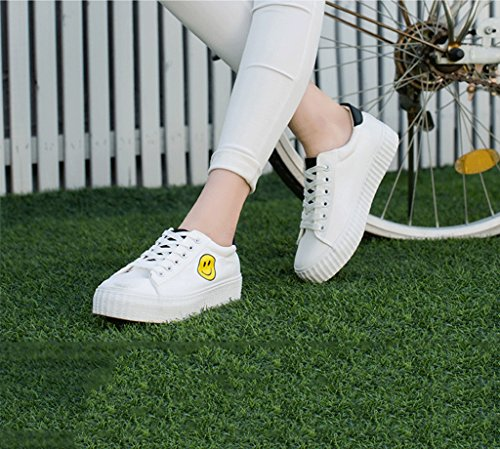 Women Fashion Simple White Lace-up Shoes Student Casual Flat Shoes Comfortable Low - Rise Shoes (Color : Yellow, Size : 39)