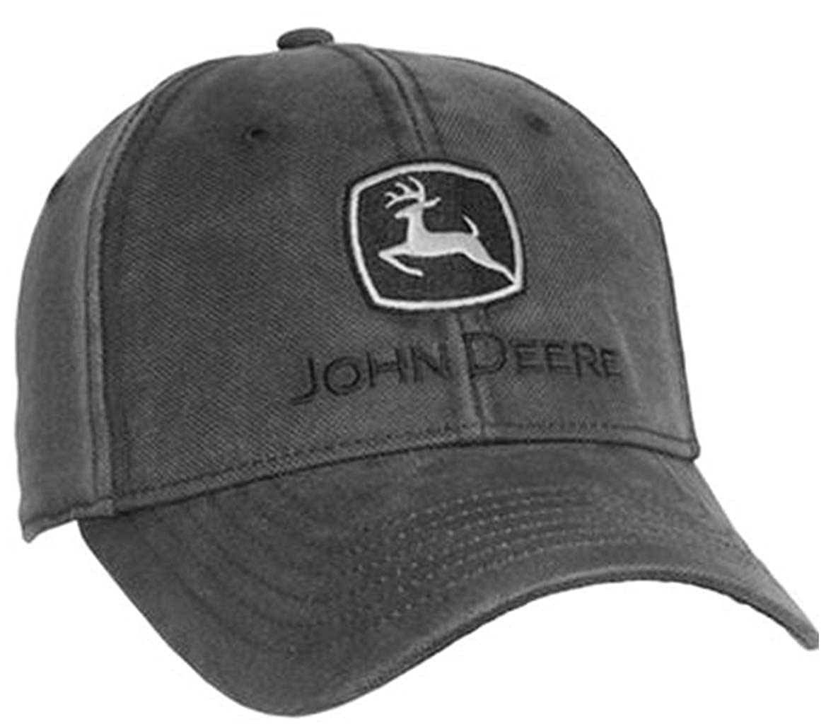 John Deere Structured Waxy Cotton Charcoal Cap Hat