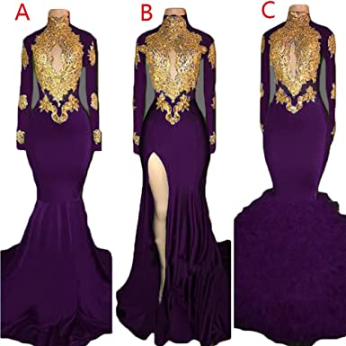 9a1108edb354 Womens High Neck Gold Applique Mermaid Prom Dresses Long Sleeve Lace Slit  Backless Formal Evening Ball
