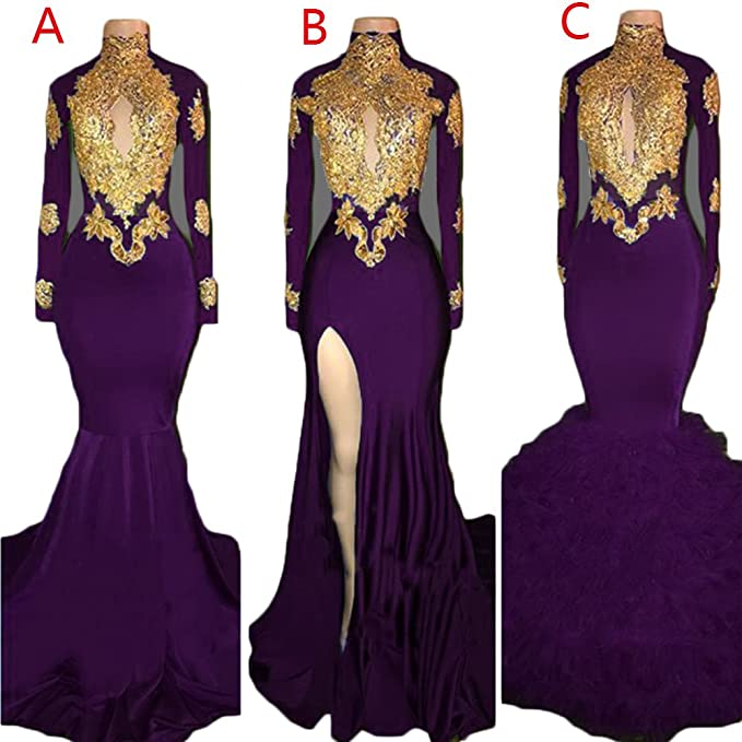 Womens High Neck Mermaid Prom Dresses Long Sleeve Lace Slit Backless Formal Evening Ball Gowns 2020