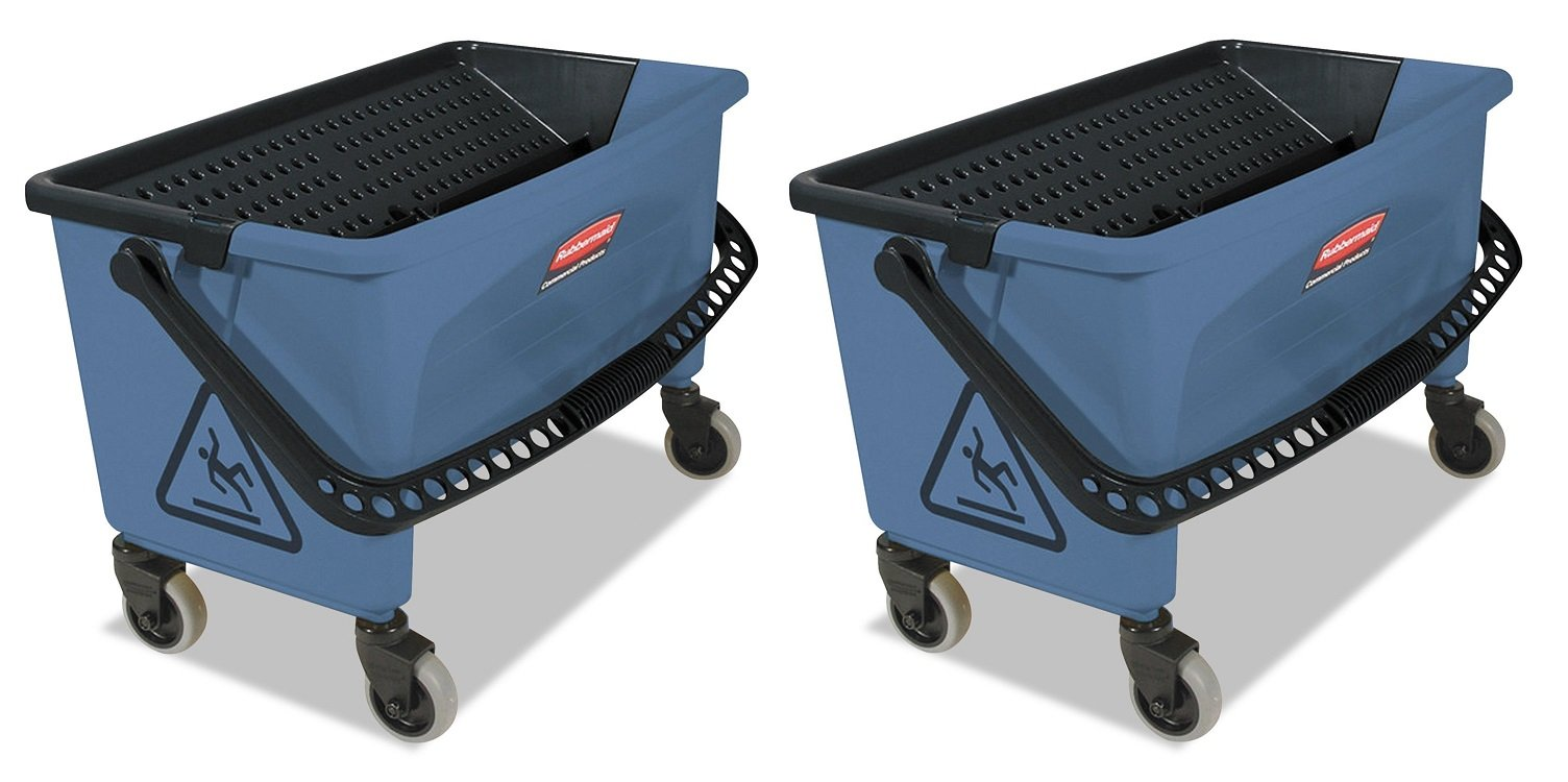 Rubbermaid Commercial Finish Mop Bucket with Wringer, 28-Quart, Blue (2)