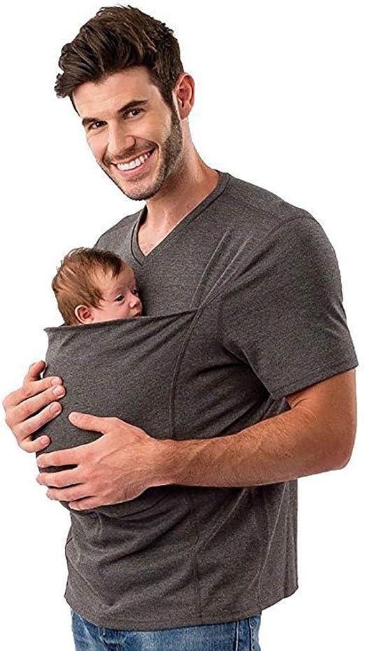 Canguro Cuidado Papá Cómodo Corta Manga Camisa Polo Bebé Envolver ...
