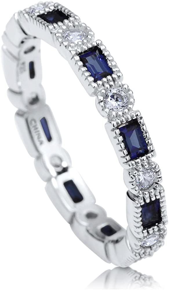 Blueand Clear Cubic Zirconia eternity SOLID sterling stamped 925 silver Tarnish free sizes 5-10