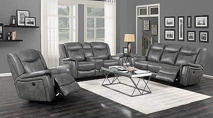 Amazon.com: Coaster Conrad Grey Power Sofa 650354P: Kitchen ...