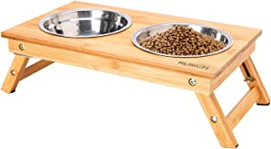 RLRICH Raised Pet Bowls for Cats and Dogs, Adjustable Bamboo Elevated Dog Cat Food and Water Bowls Stand Feeder with 2 Stainless Steel Bowls, Pet Feeder for Small Dogs & Cats