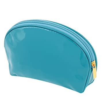 d3536c7bf6a6 Lady Patent Leather Makeup Holder Zip Up Cosmetic Bag Teal Blue