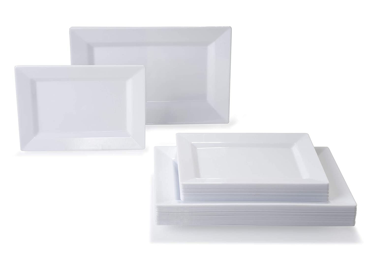 Soho, White 50 piece set (25 guests) 360 PIECE   60 guest  OCCASIONS  Wedding Disposable Plastic Plate and Silverware Combo (White Silver rim plates)