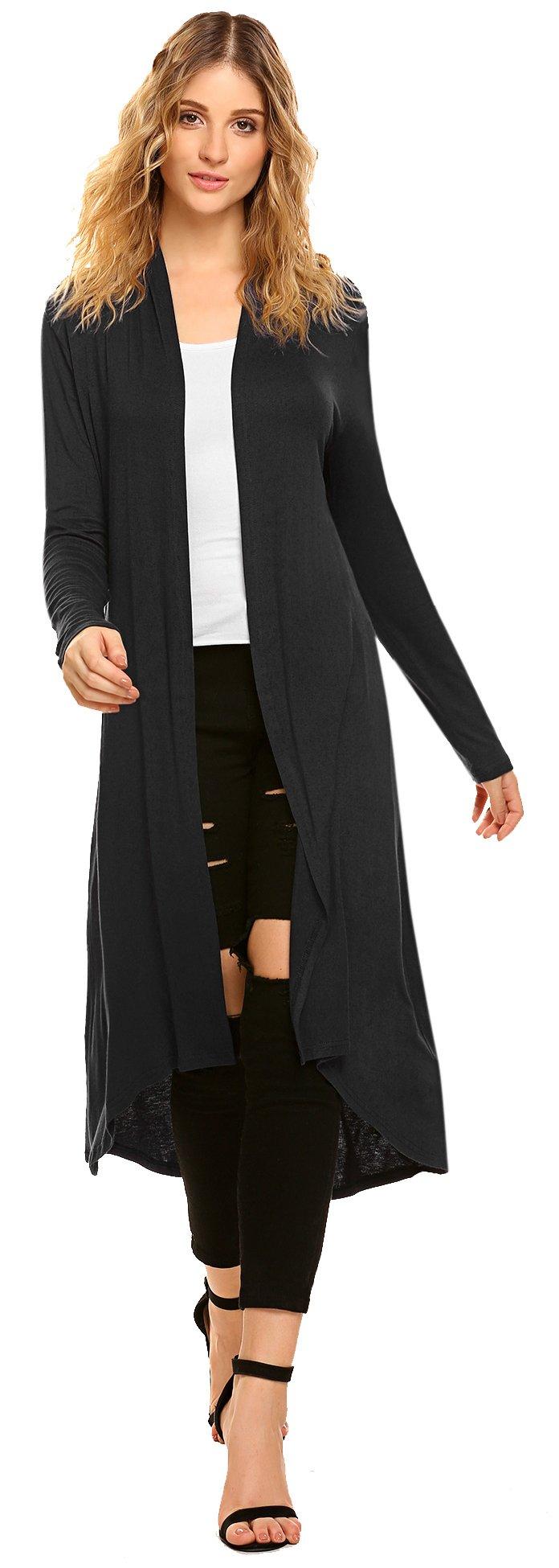 POGTMM Women Lightweight High Low Drape Front Long Sleeve Plus Size Cardigan (US XL(16-18), Black)