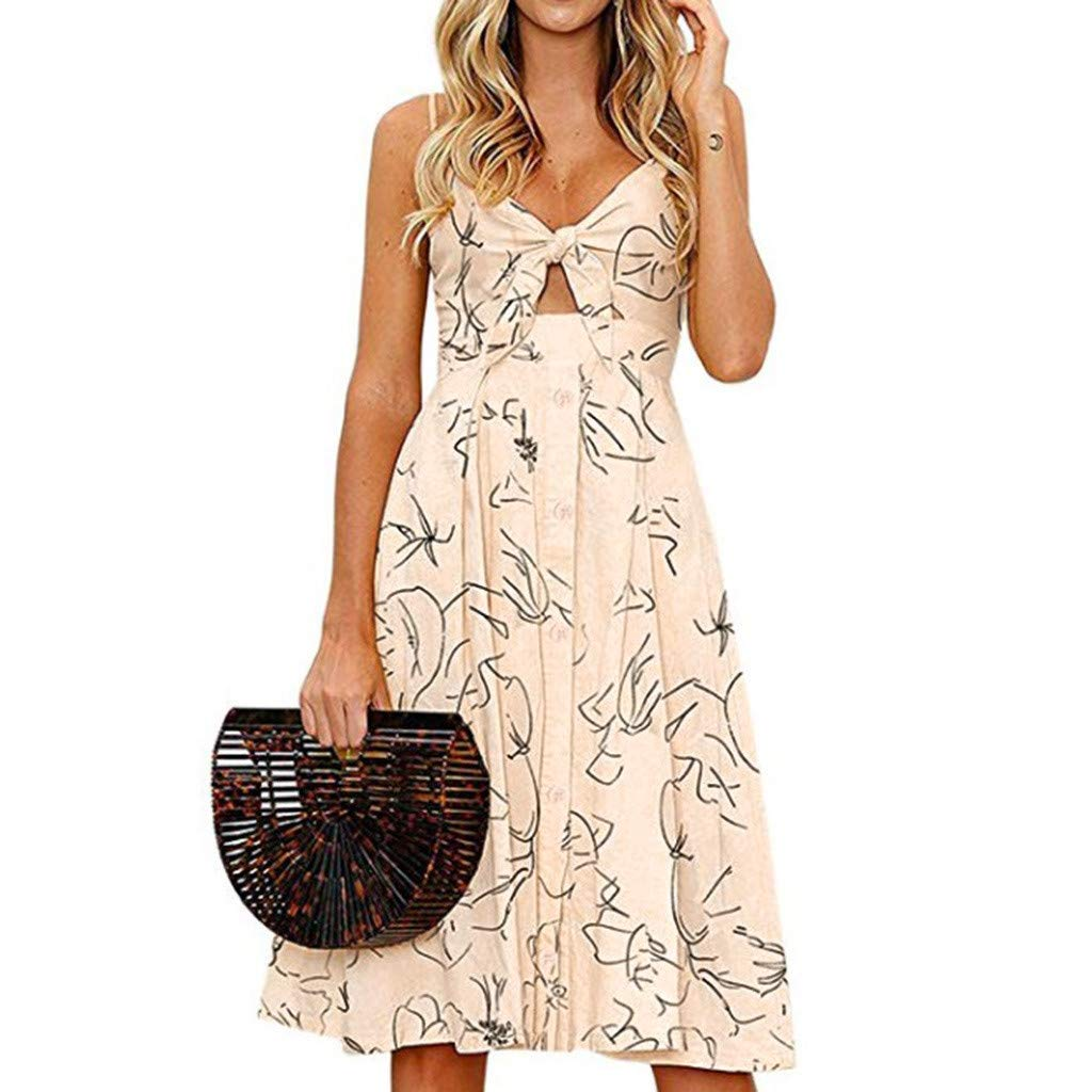 FarJing Womens Summer Tie Front V-Neck Spaghetti Strap Button Down A-Line Backless Swing Mini Dress(L,Yellow