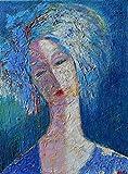 Woman Female Portrait Artwork Impasto Painting on CANVAS 12x16 Blue Figure Figurative Head Face People Original Genuine Hand Painted Oil Fine art work
