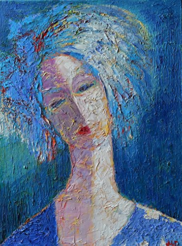 Woman Female Portrait Artwork Impasto Painting on CANVAS 12x16 Blue Figure Figurative Head Face People Original Genuine Hand Painted Oil Fine art work by SmartPolonia
