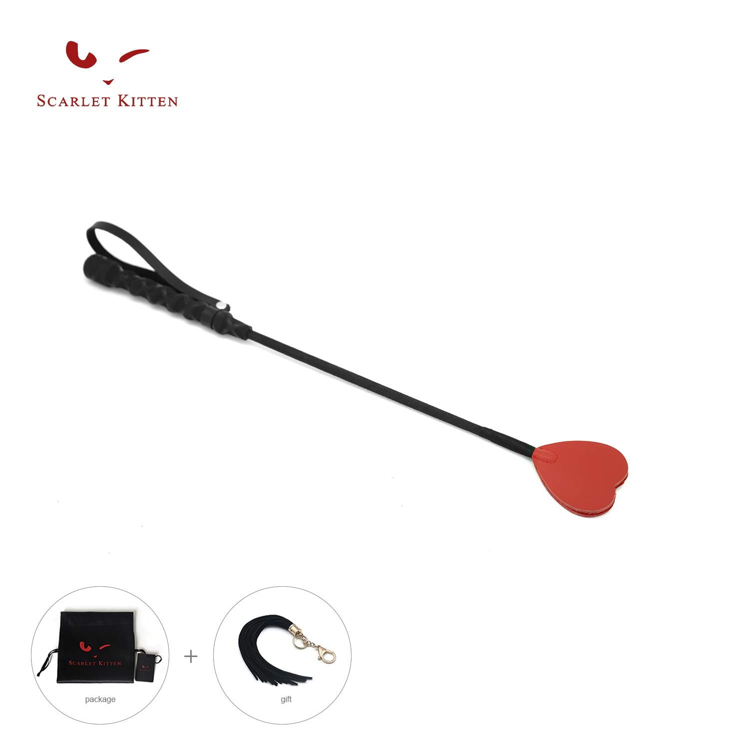SCARLET KITTEN Riding Crop Horse Whip Spanking with Leather Slapper Heart Shape Jump Bat (Red) by SCARLET KITTEN