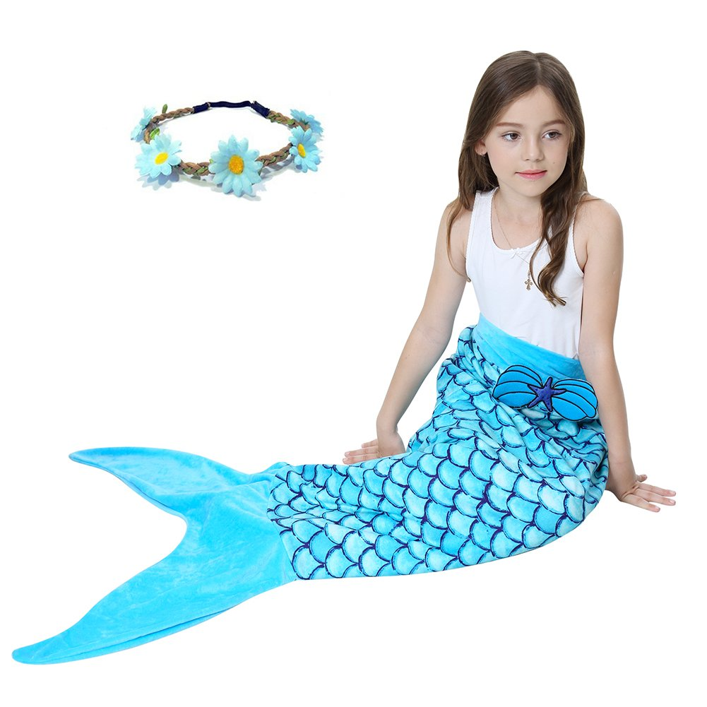 GALLDEALS Mermaid Tail Blanket for Kids Girls, Sleeping Bag, Sofa bag (Blue)