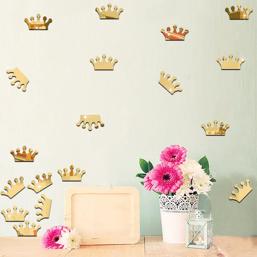 Princess Crown Mirror Effect Wall Decals Removable Stickers Vinyl Decal Decor for Kids Baby Bedroom Nursery Decoration Home Decor Wall Stickers 18Pcs (Gold) style2