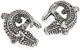 product image for JJ Weston Antiqued Alligator Cufflinks. Made in The USA.