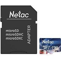 Netac Tarjeta de Memoria de 128GB con Adaptador, Tarjeta Memoria microSDXC(A1, U3, C10, V30, 4K, 667X) UHS-I Velocidad de Lectura hasta 100 MB/s, Tarjeta TF para Móvil, Cámara Deportiva, Switch