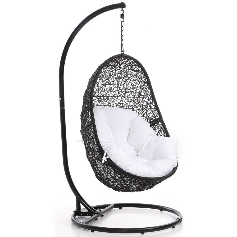 Wondrous Amazon Com Zuri Furniture Modern Reef Black Basket Swing Inzonedesignstudio Interior Chair Design Inzonedesignstudiocom