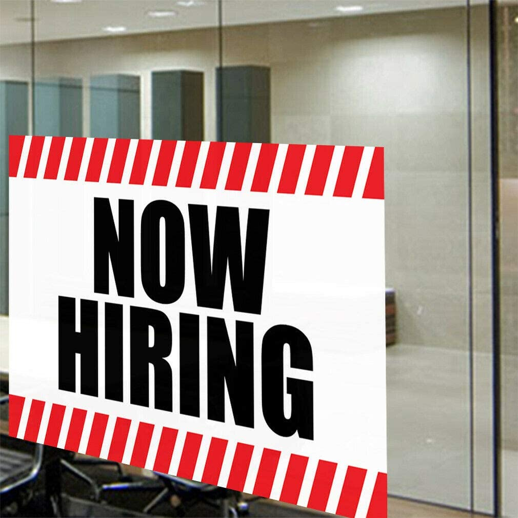 Decal Sticker Now Hiring Business Style R Business Now Hiring Store Sign White-45inx30in