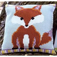 Cross Stitch Cushion: Fox - Brown/Purple
