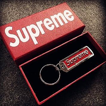 Llavero Supremo Llavero Sup Colgante Accesorios Joyería de la mochila Llavero Llavero Ventiladores Hypebeast (RED)