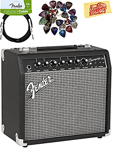 Fender Champion 20 Guitar Amplifier - Black and Silver Bundle with Fender Instrument Cable and Austin Bazaar Polishing - Fender Blues Combo Amps