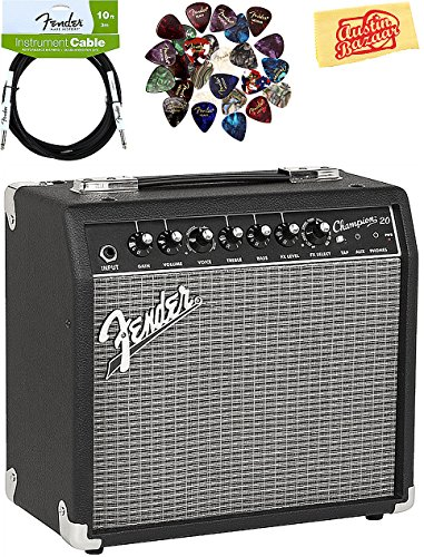 Fender Champion 20 Guitar Amplifier Bundle with Instrument Cable, Pick Sampler, and Austin Bazaar Polishing Cloth