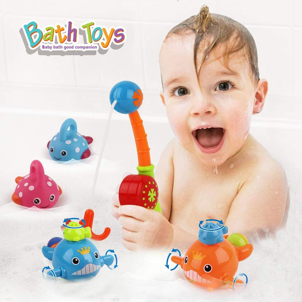 VCOSTORE 8 Pcs Bath Toys Fishing Game Playset with Fishing Rod Fishing Net Cute Ocean Animals for Toddlers Water Toys Gift