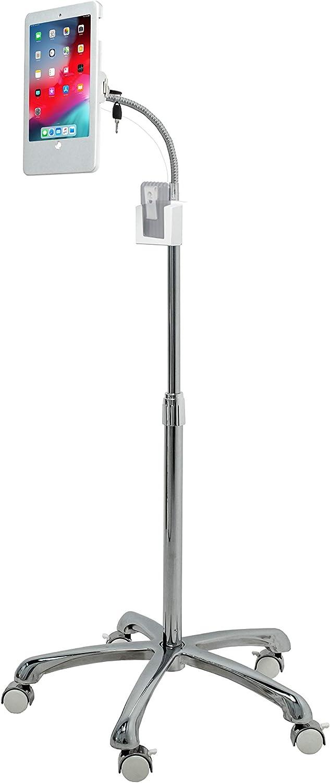 CTA Digital PAD-HSFK9 Heavy-Duty Security Floor Stand with Locking Wheels for iPad (Gen. 5-6), iPad Pro 9.7, and iPad Air