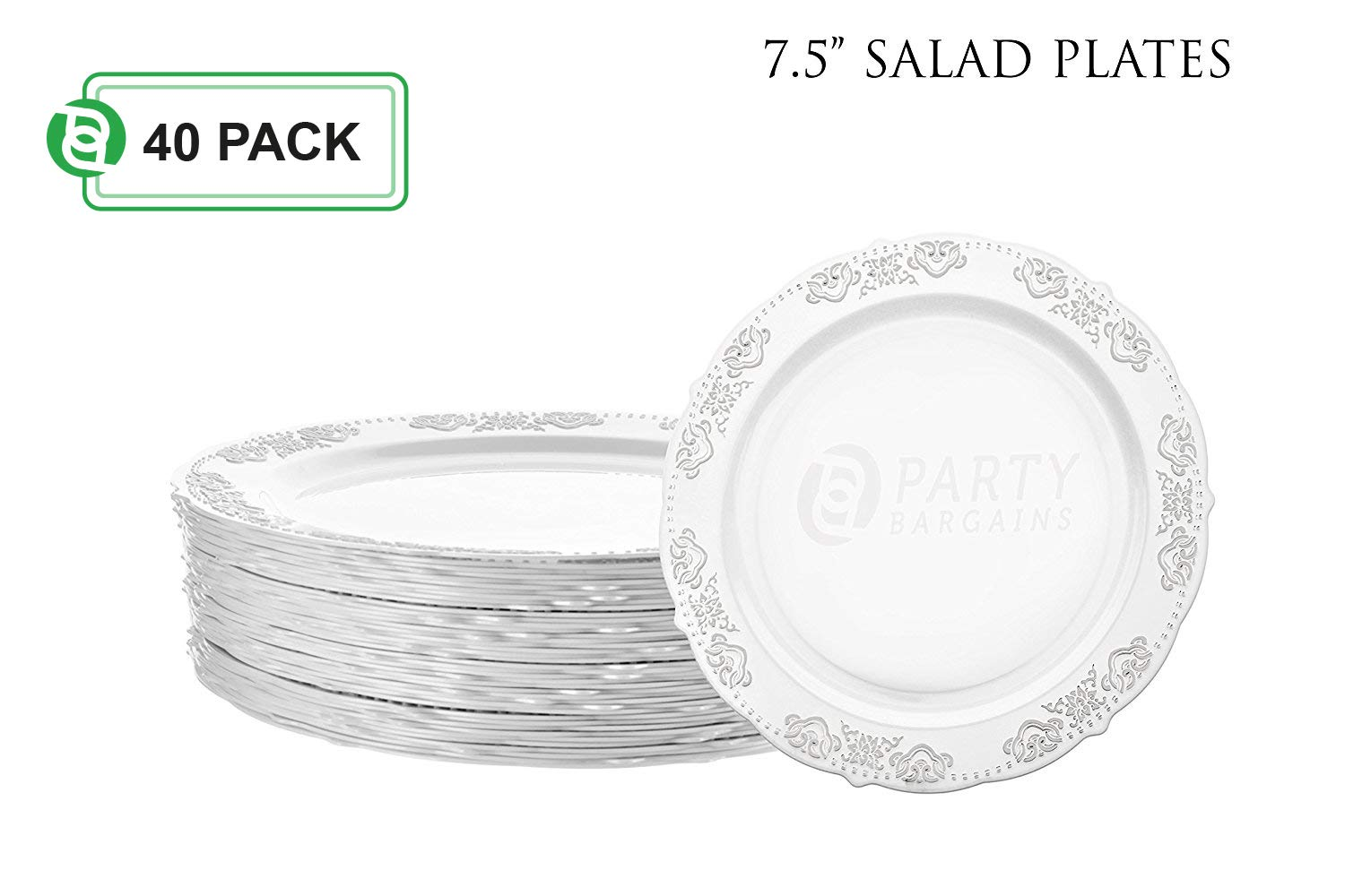 Party Bargains Disposable Plastic Plates | Heavyweight & Premium Quality China Like Dinnerware for Weddings, Bridal Showers, Engagement Parties & More | 7.5 Inches Silver Dinner Plates | 40 Count by Party Bargains