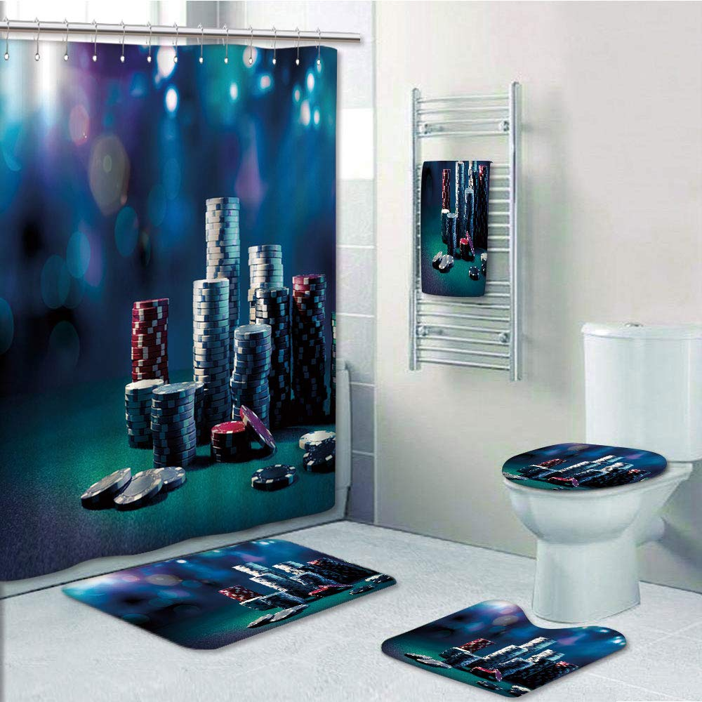 Bathroom 5 Piece Set shower curtain 3d print,Poker Tournament Decorations,Gaming Table with Poker Chips Dramatic Display Vegas Leisure Decorative,Multicolor,Bath Mat,Bathroom Carpet Rug,Non-Slip,Bath