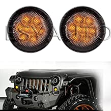 Esyauto LED Turn Signal Light Assembly for 2007~2016 Jeep Wrangler JK Turn Lamp Fender Flares Eyebrow Indicator Side Maker Parking Lights Bulb Smoke Lens Pair
