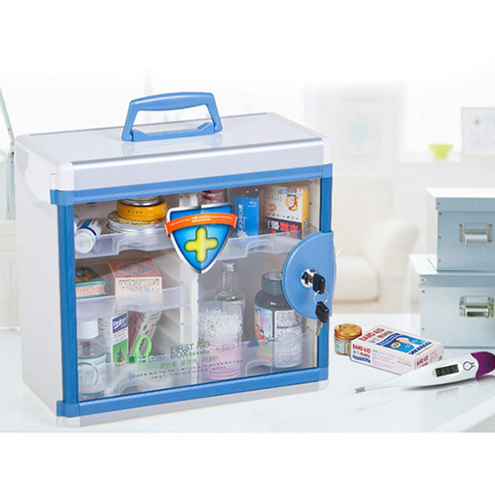 Glosen First Aid Box Lockable Medicine Box with Wall Mounted Function 13.6x6.5x12.4 Inch Blue by Glosen (Image #2)