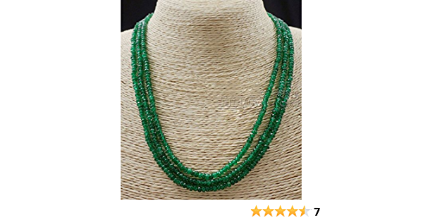 976.00 CTS EARTH MINED FACETED GREEN EMERALD ROUND SHAPE BEADS NECKLACE RS