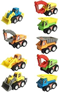 Construction Vehicles Fun Pull Back Car Toy for Boys Toddler Bulldozer Excavator Dumper Truck for Children Toddlers Mini Engineering Toys Party Favor Stocking Fillers Decoration - Color Random