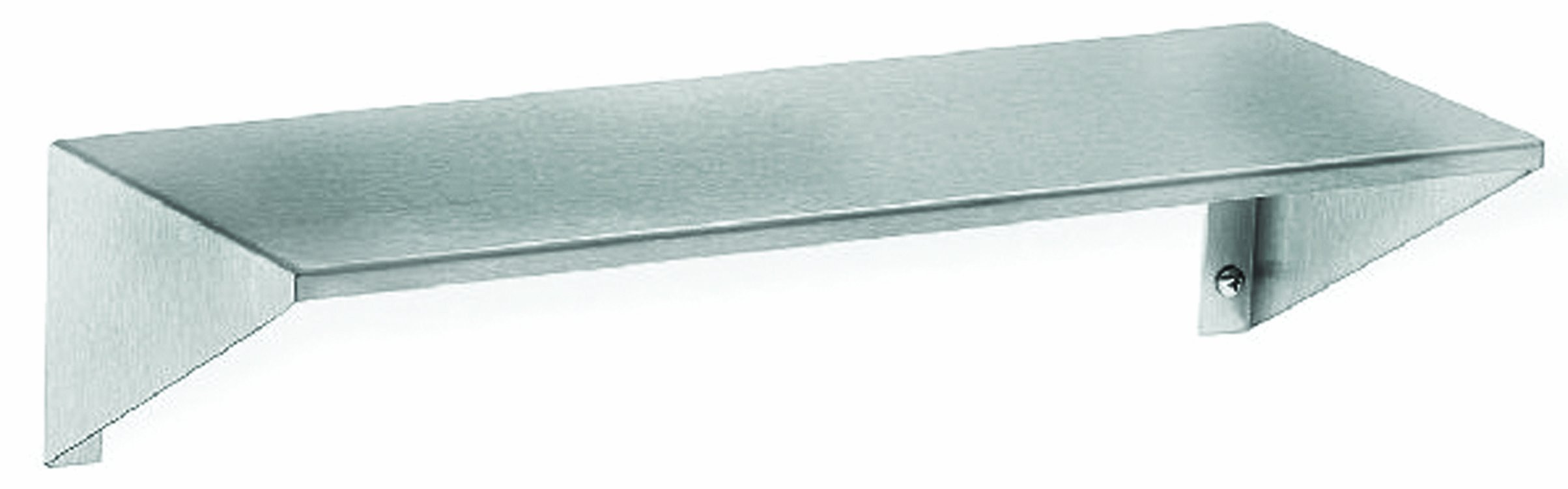 Bradley 758-024000 Stainless Steel Surface Mount Shelf with Integral End Brackets, 24'' Length x 8'' Depth