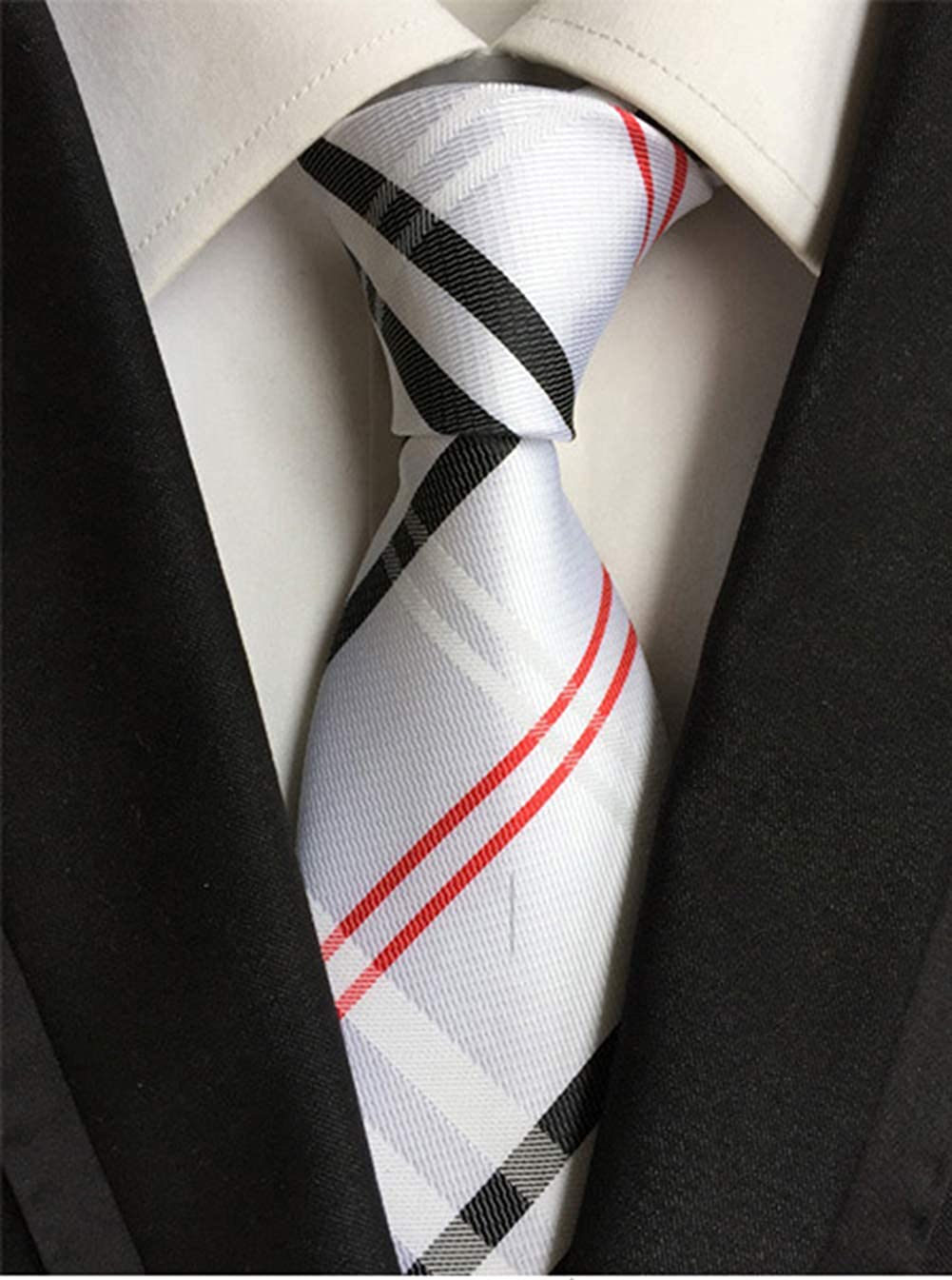MOHSLEE Mens Striped Plaid Suit Tie Handky Skinny Necktie Pocket Square Gift Set