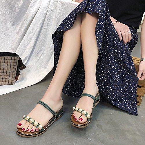 Uso Sandalias ITTXTTI Playa de nbsp; de de Verano Princesa Estudiante nuevos con de Perlas la aumentó Zapatillas de B nbsp; nbsp;Sandalias de Mujer Salvaje Zapatos Doble Cuña de HqwH48rWP