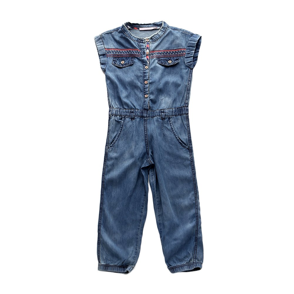 Snowdreams Girls Denim Overalls Embroidery Jumpsuit Outfit CAN-TZ18