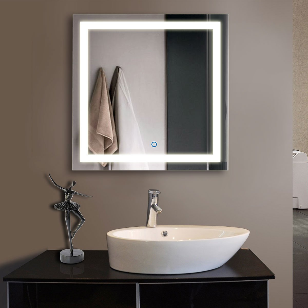DECORAPORT 32 Inch 32 Inch Square Horizontal and Vertical LED Wall Mounted Lighted Vanity Bathroom Silvered Mirror with Touch Button (A-CK010-F)